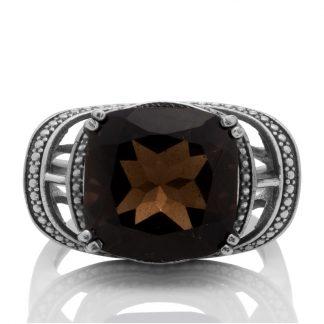 Сребърен пръстен с фасетиран опушен кварц