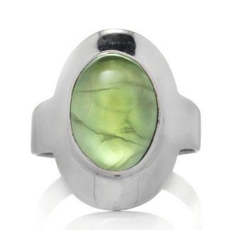 Сребърен пръстен с кабошон пренит