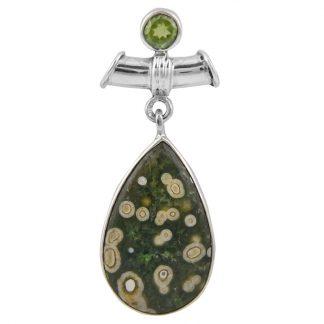 Сребърен медальон с океански яспис и перидот
