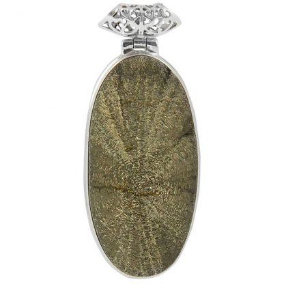 Масивен сребърен медальон със слънчев пирит
