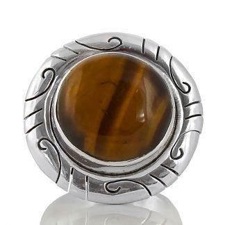 Масивен пръстен с тигрово око в сребърен обков