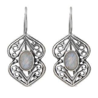 Сребърни обеци с фасетиран лунен камък