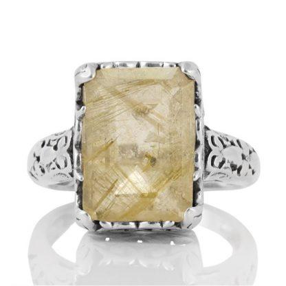Сребърен пръстен с рутилов кварц (Косите на Венера) в орнаментиран обков
