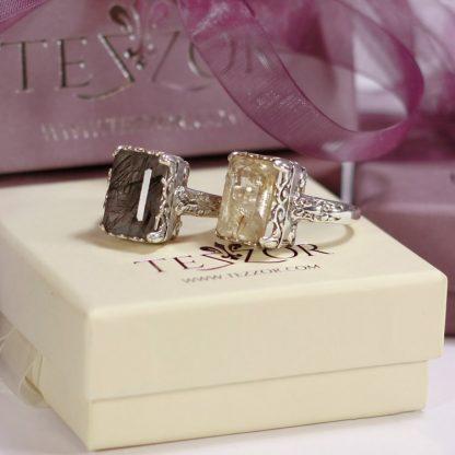 Сребърни пръстени с рутилов и турмалинов кварц.