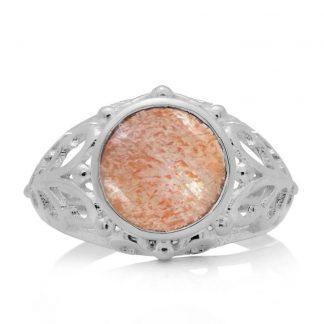 Пръстен със слънчев камък в сребърен обков