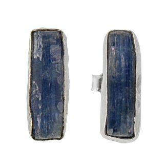 Сребърни обеци с необработен кианит на винт