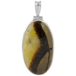 Масивен сребърен медальон със септария