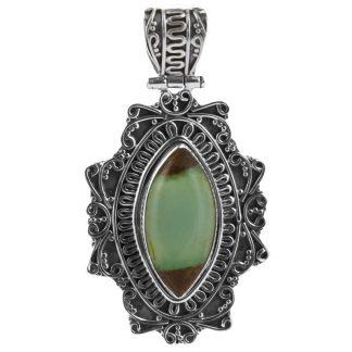 Сребърен медальон с боулдър хризопраз в орнаментиран обков