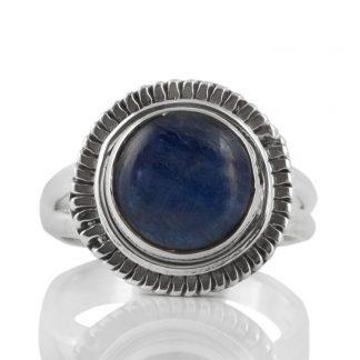 Сребърен пръстен с кабошон кианит