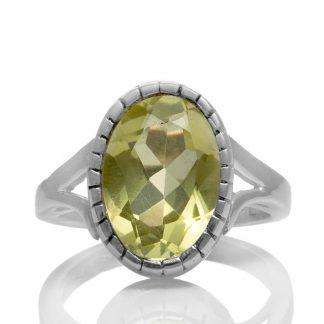 Сребърен пръстен с фасетиран лимонов кварц