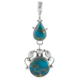 Сребърен медальон със син меден тюркоаз и перли