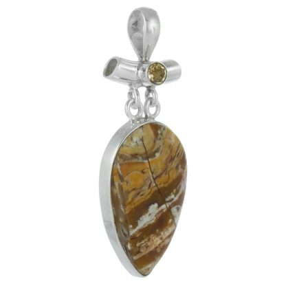 Сребърен медальон с бреша яспис и фасетиран цитрин