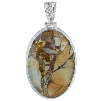 Сребърен овален медальон с бреша яспис