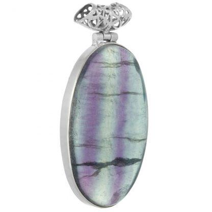 Сребърен медальон с овален многоцветен флуорит