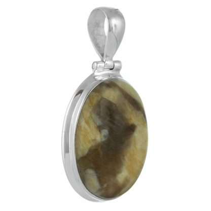 Сребърен медальон с овален графичен яспис