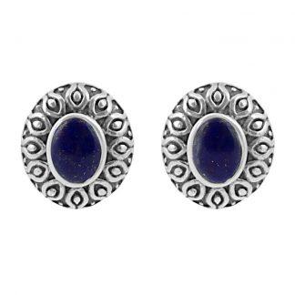 Сребърни обеци с лапис лазули (лазурит) в орнаментиран обков на винт