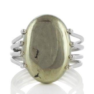 Сребърен пръстен с пирит в магнетит