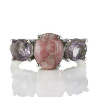 Сребърен пръстен с кабошон родохрозит и розов кварц