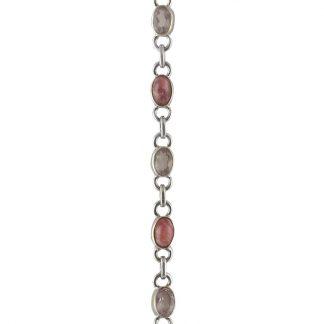 Нежна сребърна гривна с родохрозит и розов кварц