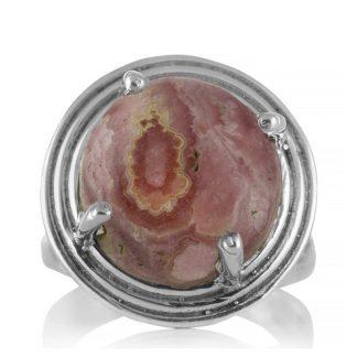 Сребърен пръстен с едър кабошон родохрозит