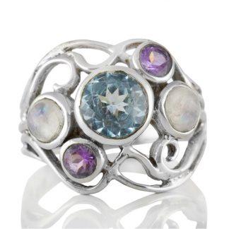 Сребърен пръстен със син топаз, аметист и лунен камъкСребърен пръстен със син топаз, аметист и лунен камък
