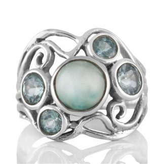 Сребърен пръстен с ларимар и фасетирани сини топази