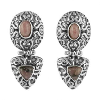 Орнаментирани сребърни обеци с родохрозит на винт