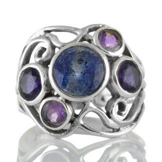 Сребърен пръстен с кианит, иолити и аметисти