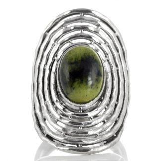 Масивен сребърен пръстен със серпентин (Змийски камък)