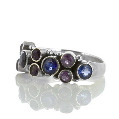 Сребърен пръстен с кианти и аметисти