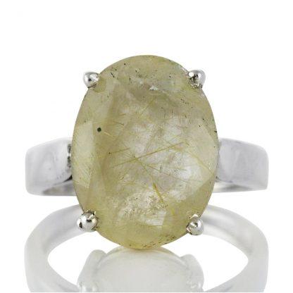 Изчистен сребърен пръстен с рутилов кварц (Косите на Венера)
