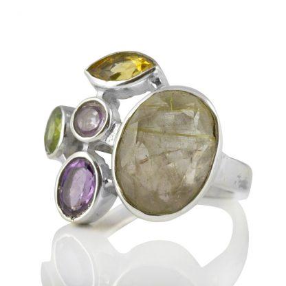 Сребърен пръстен с рутилов кварц, цитрин, аметист и перидот