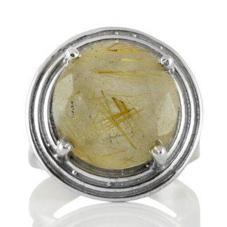 Сребърен пръстен с едър фасетиран рутилов кварц