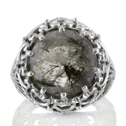 Масивен сребърен пръстен с турмалинов кварц (Стрелите на Амур)