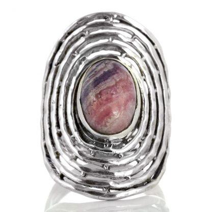 Масивен сребърен пръстен с родохрозит