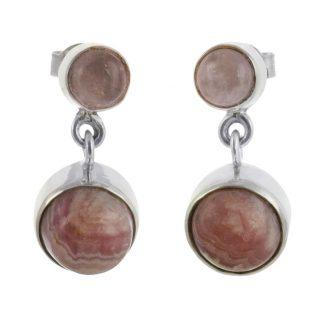 Сребърни обеци с родохрозит и розов кварц на винт