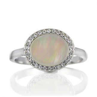 Сребърен пръстен със седеф и циркони