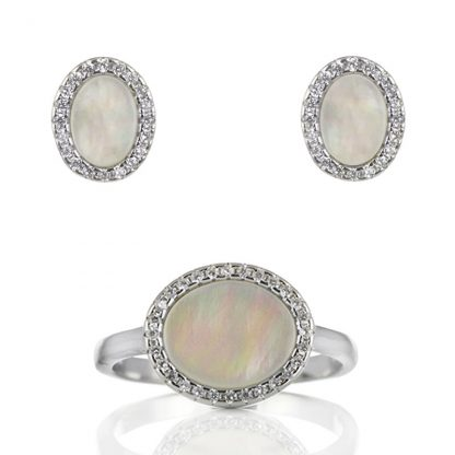 Сребърен комплект пръстен и обеци със седеф и циркони