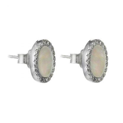 Сребърни обеци със седеф и циркони на винт