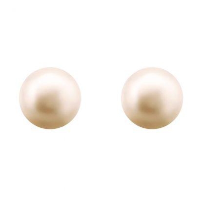Изчистени сребърни обеци с розова сладководна перла – 0.7 см.