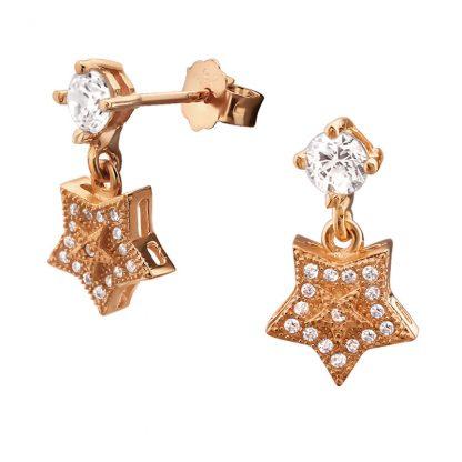 Нежни сребърни обеци с циркони Made of Stars