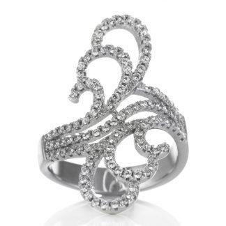 Едър сребърен пръстен с циркони