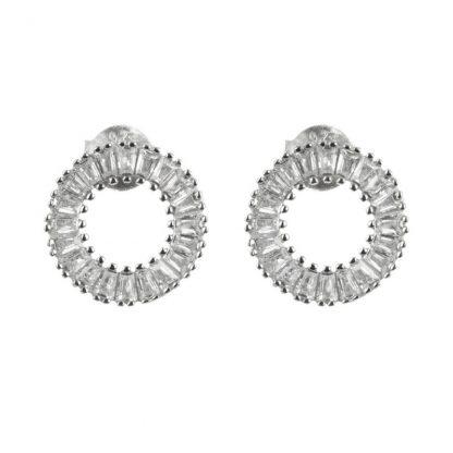 Сребърни обеци с циркони на винт