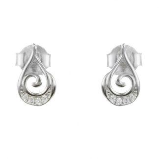 Малки сребърни обеци с циркони на винт
