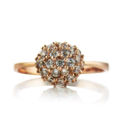 Нежен сребърен пръстен с циркони и розово злато Shine