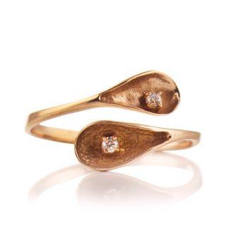 Нежен регулируем сребърен пръстен с циркони Flora